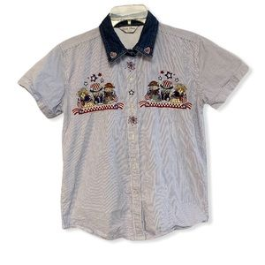 Vintage patriotic cats embroidered shirt small